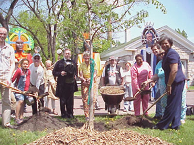 Planting the ceremonial Arbor Day tree